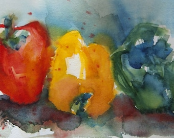 Tri-Colored Peppers, Original Watercolor Still Life, Kitchen Art, OOAK, Matted Painting, Ready to Frame, 12 x 16 inches