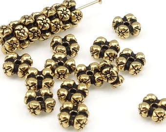 Antique Gold Beads Gold Spacer Beads TierraCast Four Flowers Rondelle Floral Pewter Beads by Tierra Cast  (PS108)
