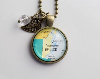 Map of Belize Necklace - Central America  Map Pendant Necklace - Custom Jewelry - Travel Necklace - Missions Adoption Jewelry Belmopan Gift