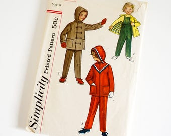 Vintage 1960s Boys and Girls Size 6 Jacket, Pants and Separate Hood Simplicity Sewing Pattern 2286 Uncut Complete / bust 24 waist 22