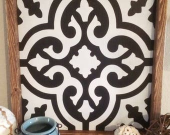 Moroccan Tile Framed Wood Wall Hanging
