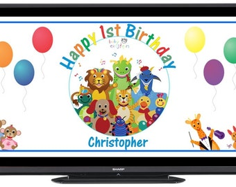Personalized Baby Einstein Digital Birthday Party Sign Banner Image for Flat Panel Big Screen TV - FREE SHIPPING