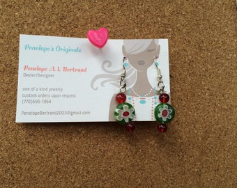 Red and green flower earrings