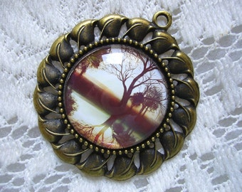 Antique Brown Reflections Tree Pendant Free Shipping in USA