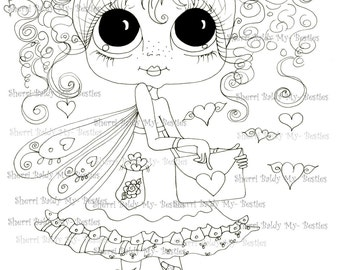 INSTANT DOWNLOAD Digital Digi Stamps Big Eye Big Head Dolls Digi  My - Besties  IMG204  By Sherri Baldy
