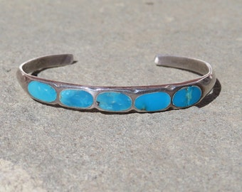 Turquoise Cuff, Vintage Native American Jewelry, Navajo Turquoise, Turquoise and Silver Bracelet, Vintage Navajo Jewelry, Turquoise Inlay