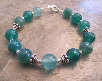 Gemstone Bracelet Green Agate & Sterling Silver Bali Bead