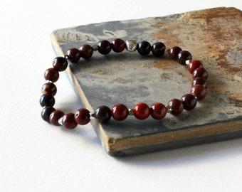 Red Bead Bracelet, Poppy Jasper Bracelet, Gemstone Jewelry, Stretch Bracelet, Stacking Bracelet, Sterling Silver Bead, Jasper Bracelet
