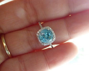 Large 14k Blue Zircon Diamond halo engagement ring