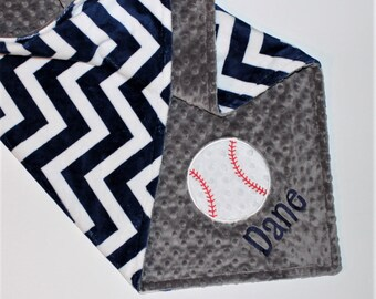 Sports baby blanket etsy personalized baseball baby blanket double minky chevron baby boy blanket sports nursery bedding decor negle Image collections