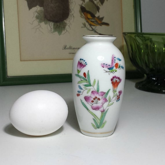 Vintage Porcelain Bud Vase With Delicate Flowers Butterfly
