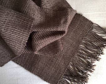 Twilling Schal - handgewebt - Merino - heiße Schokolade
