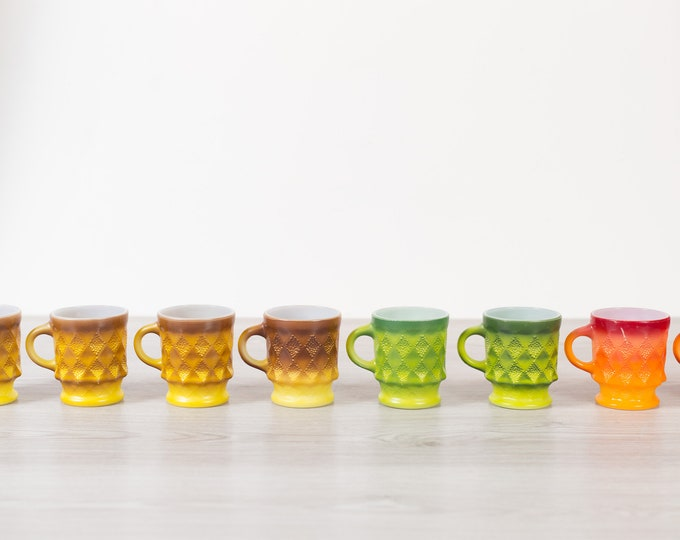 Vintage Diamond Mugs - 8 set Fire King Vintage Geometric Triangle Shape Mugs in Yellow, Green, Orange - Mother's Day Gift