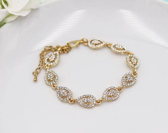 Rhinestone Bridal bracelet Gold, Gold wedding bracelet, rhinestone crystal bracelet, crystal bracelet, Annabel Gold Bracelet