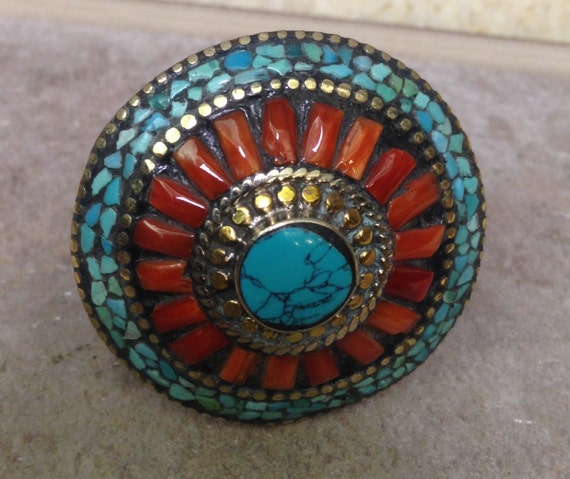Tibetan Silver Turquoise Coral Ring Tibet  Tribal Handmade Handcrafted Red Coral Turquoise Statement Unique Wisdom Power Stone