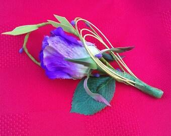 Purple Rose Boutonniere