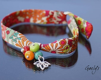 Fruitos - Bracelet Argent massif / breloques verre et tissu liberty -  Gaelys
