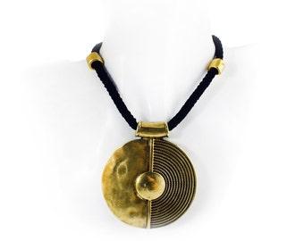 Black Rope Necklace, Antique Bronze Ethnic Tribal Large Pendant Necklace, Statement Necklace, Ethnic Tribal Jewellery
