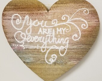 """11"""" Wood Heart, Hand painted with customized 3D sayings"""