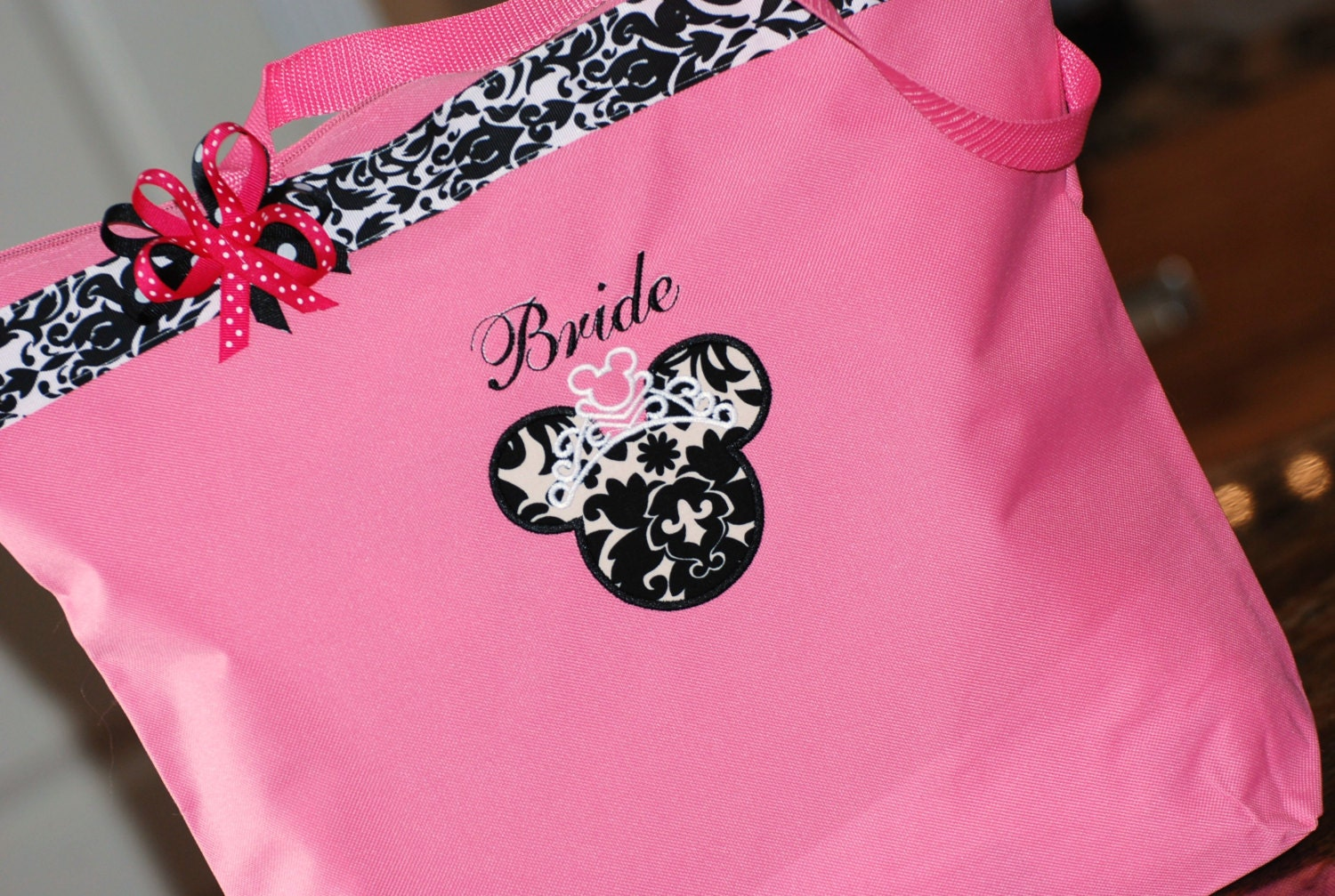 Personalized extra large Disney anniversary wedding bride tote