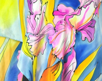 Hand painted silk Scarf/Yellow Orhids/Painted silk shawl/Woman long Luxury scarf/Silk shawl Painting shawl Painted on hand Orhids/S0224