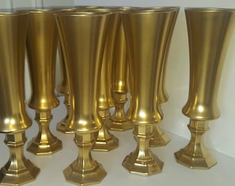 "Set of 5- 12"" Tall White Glass vases, Gold vases,white and gold vases,Wedding centerpiece, gold dipped vases"