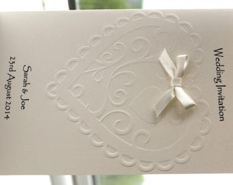25 Handmade Embossed Wedding Invitations