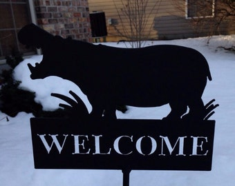 Metal Hippopotamus Hippo Welcome Yard Art Sign Home Decor Garden & Patio Decoration