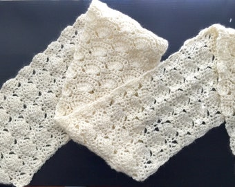 Crochet winter scarf, White crochet scarf, Wool crochet long scarf.