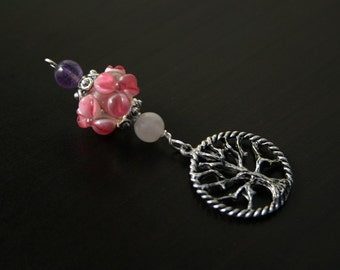 Rose quartz and Amethyst Cherry Blossom Tree of Life Blessingway bead - Blessing bead, baby shower gift, pregnancy gift, pendant, doula gift