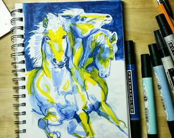 "Original Art, ""Demon Horse"" marker drawing"