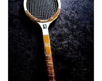 Vintage Chris Evert Wilson Wood Tennis Racquet  Leather Grip 4 1/2 L Ex.