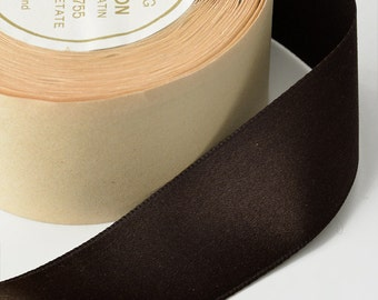 "1-3/8"" Double Faced Silk Satin Ribbon by 10 Yards Roll, Brown"