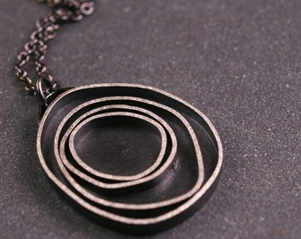 Sterling silver oxidized modern circles pendant necklace  - Orbit