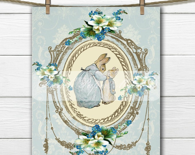 Digital Shabby Chic Peter Rabbit, Printable Beatrix Potter, Easter Pillow Transfer Graphic, Instant Download