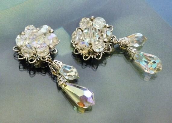 Swarovski Earrings / Austrian Crystal / AB Aurora Borealis / Clip On