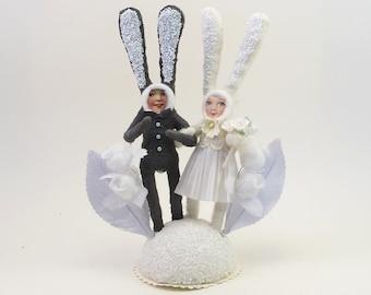 READY TO SHIP Vintage Inspired Spun Cotton Happy Bunnies Wedding Cake Topper