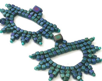 Sunbursts beadweaving shape tutorial for earrings and other designs: Instant Downloadable Pattern PDF File