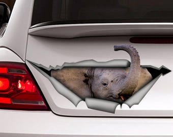Elephant car decal ,  3d decal,  car decoration, animal decal, elephant  sticker, funny decal