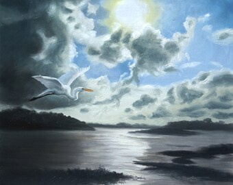 Great White Egret wildlife bird landscape 20x24 (51 x 61 cm) oils on canvas painting by artist RUSTY RUST / E-123