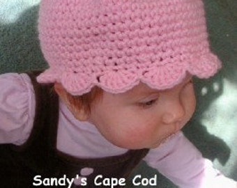 Pretty Pink Petal Hat Infants to Adults, and Pretty Pink Petal Booties 0-12 Months Crochet Pattern PDF 377