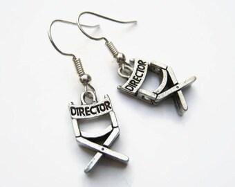 Director's Chair Earrings, Film Earrings, Movie Buff Earrings, Personalized Birthstone Earrings, Producer Earrings, Film Festival