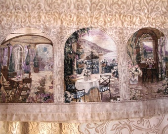 Vintage Curtains Three Valances French Country Dining Scenes Cottage Farmhouse Shabby Romantic Chic