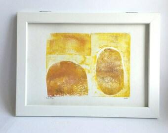 Abstrakte Monoprint Monotypie drucken, moderne abstrakte Kunstwerke, organische Formen, minimalistischen Druck Kunst, Linoldruck, Wand-Dekor, zeitgenössische