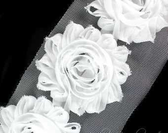 White Shabby Flowers 2-1/2 inches - White Shabby Rose Trim, Shabby Flowers by the Yard, Shabby Flowers Wholesale, Shabby Rose, Chiffon Trim