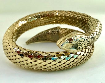Whiting and Davis late 60s / early 70s vintage signed coiled serpent Egyptian Revival bracelet