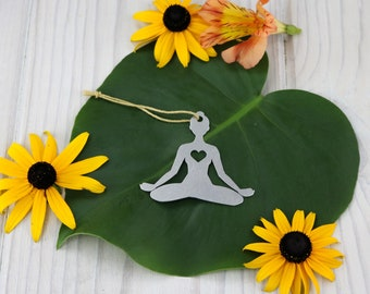 Yoga Lotus Pose Metal Ornament Rustic  Gift for Her Spring Home Decor Personalized Yogi Custom Engraving Stamping Meditate Father's Day