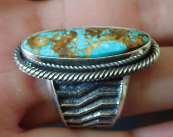 Pilot Mountain Turquoise Sterling Ring   sz 8