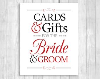 SALE Printable Cards & Gifts for Bride and Groom 8x10 Black and White and Red Card Box Wedding Sign - Instant Download
