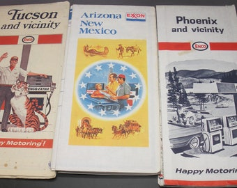 6 Vintage Enco, Esso, Exxon US States and Cities Road Maps 60's and 70's Bargain Pack